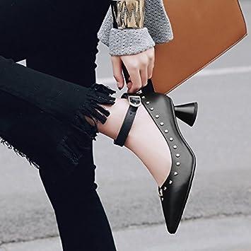 Jqdyl High Heels Damen Einzel Schuhe Dick mit Jahreszeiten Damenschuhe