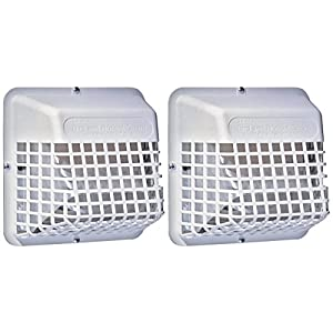 """2-Pack - Deflecto Universal Bird Guard, Fits 3"""" to 4"""" Vents, White (UBGWL) 85"""