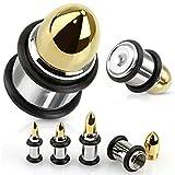 00g bullet plugs - PAIR Bullet Ammunition Steel & Gold Internally Threaded Plugs Earlets Gauges Pierced Body Jewelry (00g (10mm))