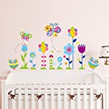 BIBITIME Nursery DIY Wall Decal Corner Border Sticker Lovely Owls Growing Blooming Colorful Flowers Multicolored Insect Butterfly Decor Art Stickers for Children Baby Bedroom