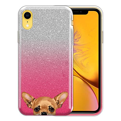 FINCIBO Case Compatible with Apple iPhone XR 6.1 inch, Shiny Sparkling Pink Gradient 2 Tone Glitter TPU Protector Cover Case for iPhone XR - Fawn Apple Head Chihuahua Dog