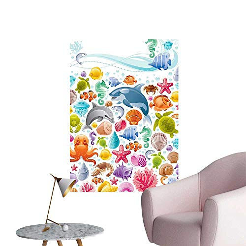 Wall Decals Div Sea Animals Collecti Mar Objects Whale Corals Underwater cept Environmental Protection Vinyl,28
