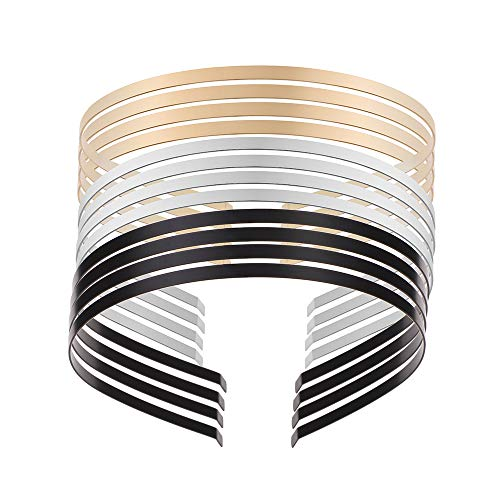 THSjewelry Smooth Metal Headbands for DIY Craft Blank Thin Steel Wire Frame Hairband Black Gold Silver Plated Head Bands