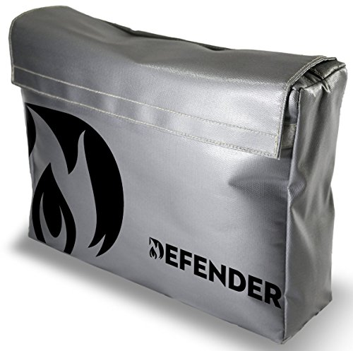 - Defender Fireproof and Water Resistant Bag | Silicone Coated Fiberglass Non-Itchy | Double Closure to Keep Valuables Protected | 11x15x4 Size for Legal Documents, Currency, Jewelry, Etc.