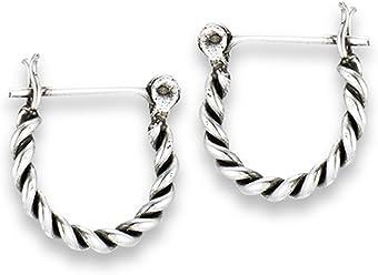 5965bd9f3 Oxidized Twisted Rope Hoop Bali Style .925 Sterling Silver Bohemian Simple  Earrings