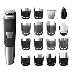 The Philips Norelco Multigroom 5000 offers exceptional value for your grooming needs. With tempered steel cutting blades that self-sharpen and won't rust, this durable trimmer includes impact-resistant cutting guards, a steel reinforced motor...