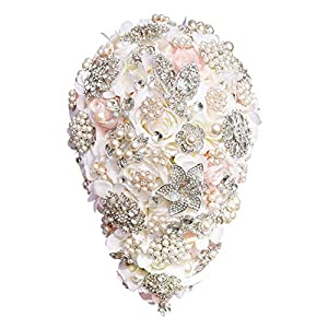 Clear Fayer Teardrop Wedding Bouquet Rose 2019 Bridal Flower Bouquet Handmade Crystal Bruidsboeket Waterval Bouquet 44