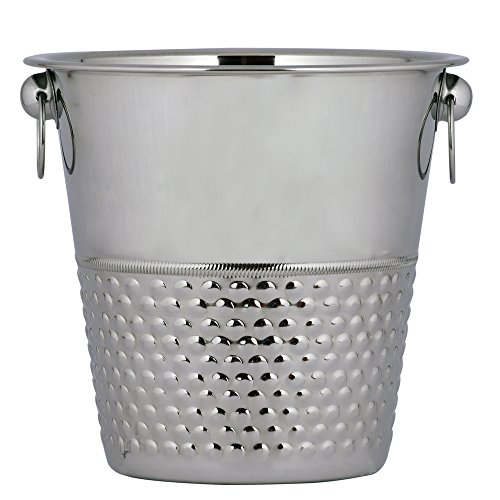 Kosma Stainless Steel Champagne Bucket | Beverage Bucket | Ice Bucket (Hammered Finish) - 21 x 21cm - Wholesale Champagne Buckets