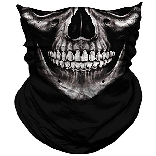AXBXCX 3D Skull Skeleton Neck Gaiter Face Mask for Motorbike Motorcycle Cycling Riding Hiking Hunting Fishing Skateboard Powersports Cosplay Halloween Party Music Festivals Raves Face Mask PL180680 -