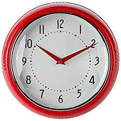 Lily's Home Retro Kitchen Wall Clock, Large Dial Quartz Timepiece, Red, 9.5""