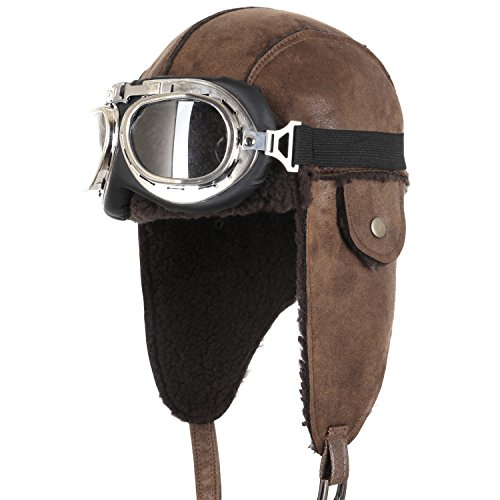 ililily Aviator Hat Winter Snowboard Fur Ear Flaps Trooper Trapper Pilot Goggles , Light (Aviator Hat And Goggles)