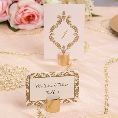 Set of Twenty David Tutera Place Card Holders and 50 Embossed Place Cards From Top Drawer (Gold) -