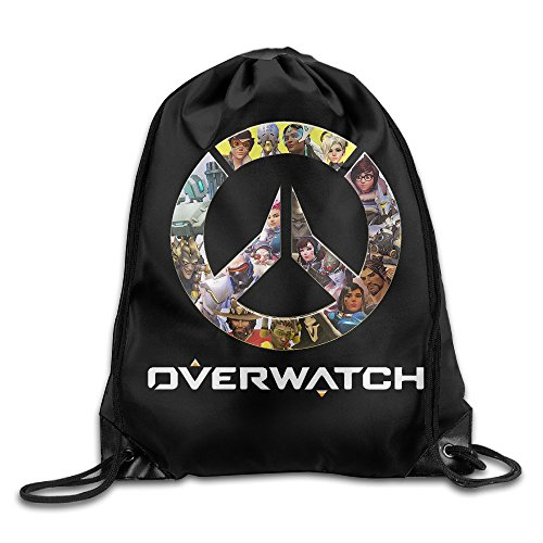 NaDeShop Overwatch OW Logo Drawstring Backpack Sack Bag / Travel Bag