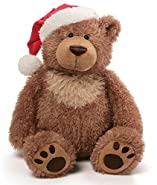 GUND Slumbers Teddy Bear Stuffed Plush Animal EXCLUSIVE Version with Santa Hat for Christmas