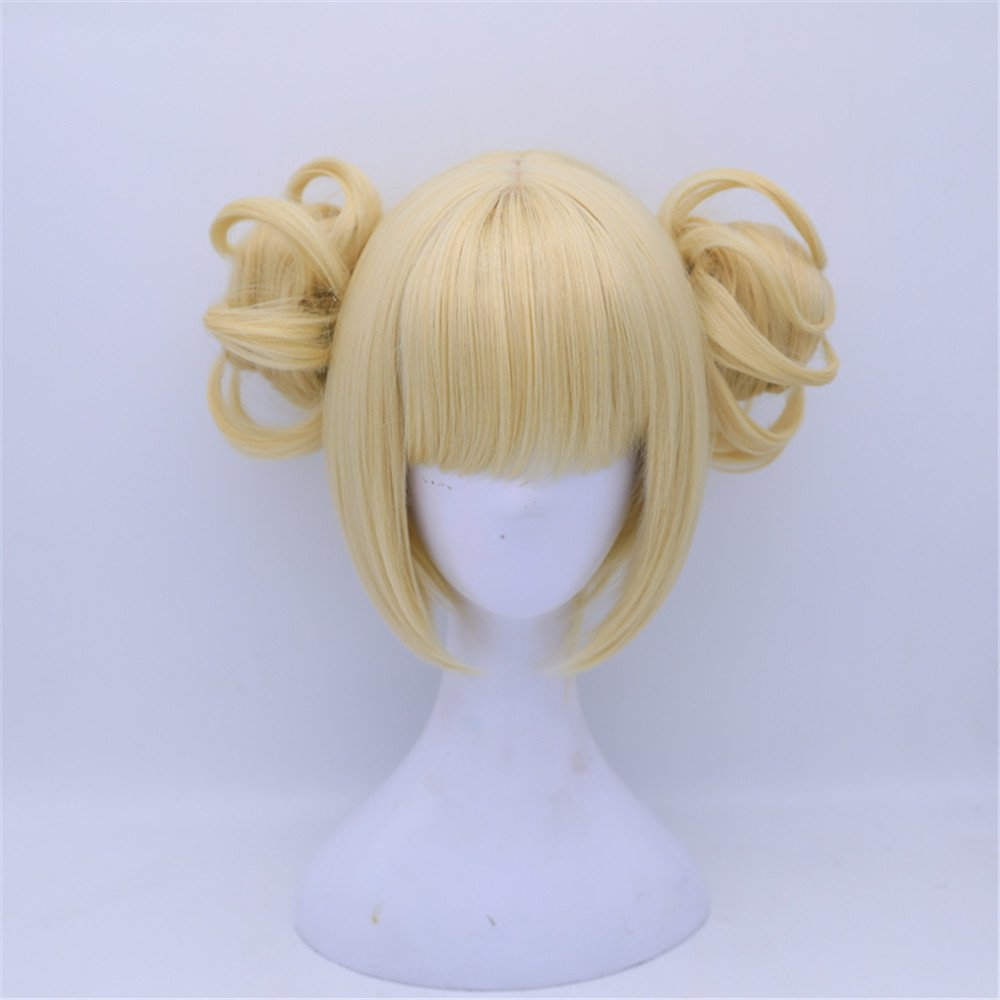 Women Gilrs' Lonita Party Wigs Anime Yellow Blonde Cosplay Wig with Bun free Cap