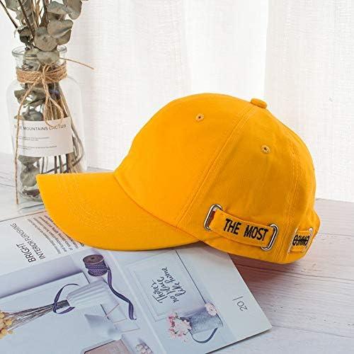 POIUIU Baseballmütze,Männer Und Frauen Arbeiten Wilde Hip-Hop-Hut-Baseballmütze,Koreanische Version des Gezeitenmannvisierfreizeitreisesonnenschutzkappengelbes Um