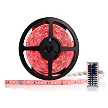 OxyLED® OCD-83 Waterproof RGB LED Strip Light Kit - 16.4ft, 300 LEDs, Color Changing SMD GRB 5050, Dimmable, 44 Key IR Remote, 60W 12V 5A Power Supply Adapter