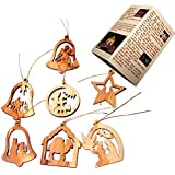 Olive Wood Complete 7-Piece Christmas Ornament Set. Nativity Story