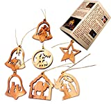 Olive Wood Complete 7-Piece Christmas Ornament Set. Nativity Story. (Assorted ornaments)