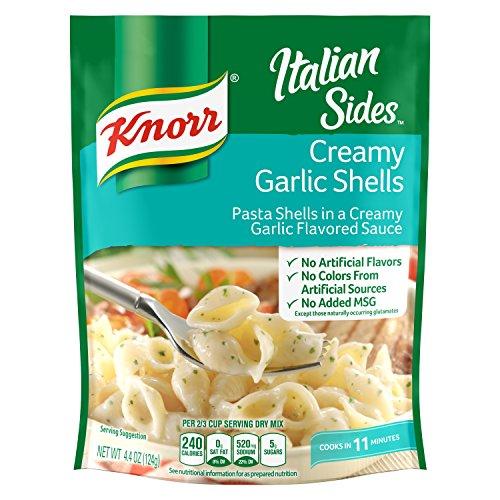 - Knorr Italian Pasta Side Dish, Creamy Garlic Shells, 4.4 oz