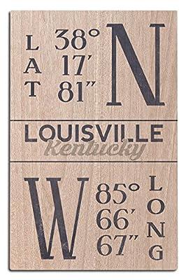 Lantern Press Louisville, Kentucky - Latitude and Longitude (Blue) (Wood Wall Sign, Wall Decor Ready to Hang)