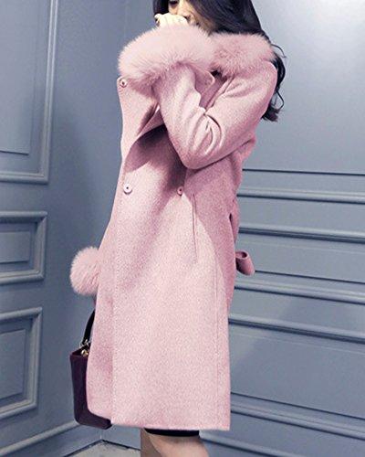 Spessore Cintura Rosa Eco pelliccia Collare Caldo Di Delle Aperta Parka Outwear Superiore Donne Cappotto Manica Giacca Cardigan Di Lunga XUqCw6