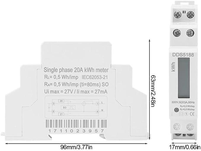 Zerone Digital LCD 220V monophas/é rail DIN 5-20A compteur d/énergie /électronique KWh