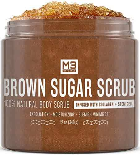 M3 Naturals Brown Sugar Scrub infused with Collagen and Stem Cell All Natural Body and Face Scrub for Acne Cellulite Stretch Marks Spider Veins Scars Wrinkles Skin Care Exfoliator 12 oz