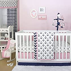 Anchor Nautical 4 Piece Baby Crib Bedding Set in Pink / Navy for girls by The Peanut Shell