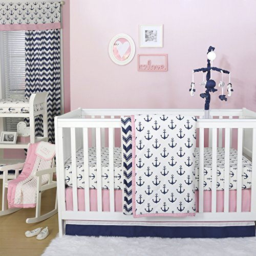 (Anchor Nautical 4 Piece Baby Crib Bedding Set in Pink / Navy by The Peanut Shell )