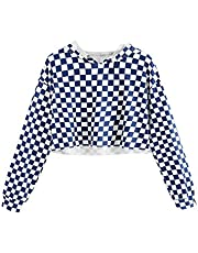KunLunMen Kids Crop Tops Girls Sweatshirts Long Sleeve Plaid Hoodies