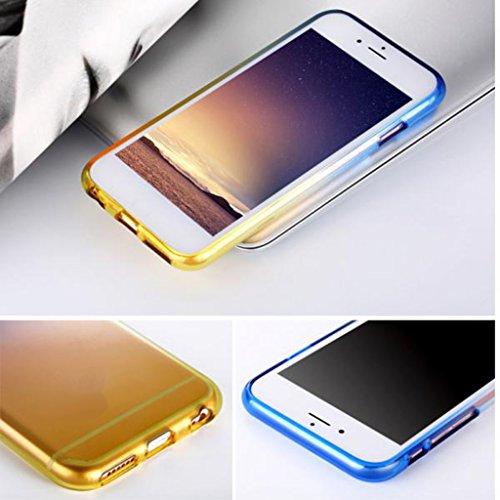 MagiDeal Cubierta Funda TPU para Iphone 6 6s Seguridad de Multicolor De Moda Móvil Inteligente - Púrpura y azul Azul y amarillo
