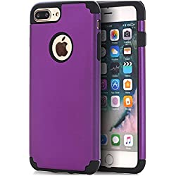 iPhone 7 Plus Case,iPhone 8 Plus Case,CaseHQ Extreme Heavy Duty Protective soft rubber TPU PC Bumper Case Anti-Scratch Shockproof Rugged Protection Cover for apple iPhone 7/8 Plus phone purple/Black