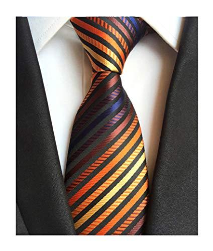 (Mens Bronze Yellow Silk Tie Fine Striped Colorful Jacquard Woven Working Necktie)
