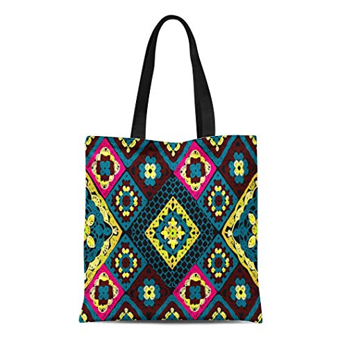 - Semtomn Canvas Tote Bag Crochet Lace Carpet of Squares Granny Pattern Knitted Wear Durable Reusable Shopping Shoulder Grocery Bag