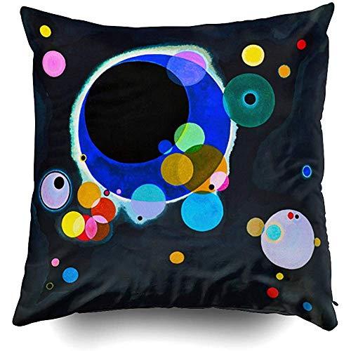 Kandinsky Several Circles Cushions Case Throw Pillow Cover for Sofa Home Decorative Pillowslip Gift Ideas Household Pillowcase Zippered Pillow Covers 18X18 Inch (Several Circles Kandinsky)