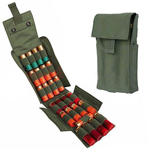 HOT 25 Round Shotgun Shotshell Reload Holder Molle Pouch For 12 Gauge/20G (Green) (Shotgun Holder Shotshell)