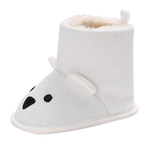 Huhu833 Kinder Mode Junge Mädchen Schuhe Soft Winter Baby Stiefel Karikatur Anti-Rutsch Kleinkind Baumwolle Stiefel Weiß
