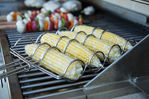 Internet's Best Stainless Steel Corn Grilling Basket | Corn Holder for Grill | 22.5 Inch Long | Wooden Handle