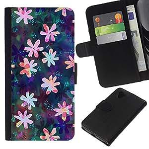 Leather Etui en cuir || LG Nexus 5 D820 D821 || Dibujo floral iridiscente Femenino @XPTECH