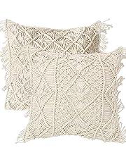 Amagabeli Kussenovertrek van macramé, 2 stuks, 45 x 45 cm, boho, decoratief, zacht, decoratief voor sofa, kussen, lendenkussen, bedkussensloop, slaapkamer, kussen, decoratie, 100% katoen, beige