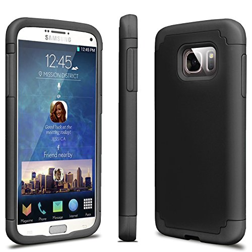 Tekcoo Galaxy S7 Case, [Tbaron Series] [Coal Black] Shock Absorbing Hybrid Rubber Plastic Impact Defender Rugged Slim Hard Case Cover Shell for Samsung Galaxy S7 S VII G930 GS7 All Carriers