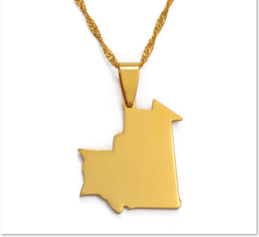 ASDWA Collar De Mapa,Mapa De Mauritania De Moda Vintage Colgante De Color Dorado Collar De Amuleto Joyas Regalo Patriótico para Hombres Regalos De Mujeres Regalo del Día del Padre