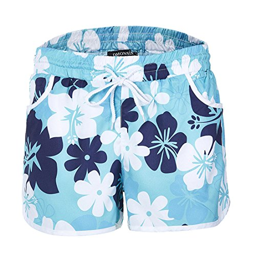 Navy Donne Estivo Coulisse Blu Floreali con Moda Casual Fashion Simple Vita Alta Shorts Spiaggia Pantaloncini 5qAF6