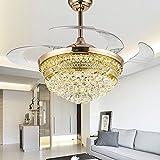 From RS Lighting 42 in Modern Luxury Crystal Fan Lights Mute Living Room Bedroom Led Energy Saving Fan Chandelier Stealth Ceiling Fan Lights