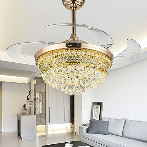 From RS Lighting 42 in Modern Luxury Crystal Fan Lights Mute Living Room Bedroom Led Energy Saving Fan Chandelier Stealth Ceiling Fan Lights by RS Lighting