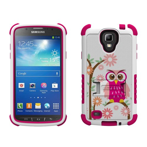 Beyond Cell Tri-Shield Durable Hybrid Hard Shell and Silicone Gel Case for Samsung Galaxy S4 Active i9252/i537 - Retail Packaging - White/Pink/Daisy Owl