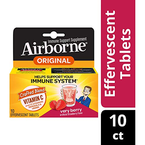 Vitamin C 1000mg - Airborne Very Berry Effervescent Tablets (10 count in a box), Gluten-Free Immune Support Supplement and High in Antioxidants, Packaging May Vary