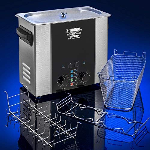 X-Tronic Model #6000-XTS 6.0 Liter''Platinum Edition'' Commercial Ultrasonic Cleaner with Time & Temp LED Displays, Sweep & Degas Controls, S/S Cleaning Basket, Wire Rack Holder & Wire Beaker Holder