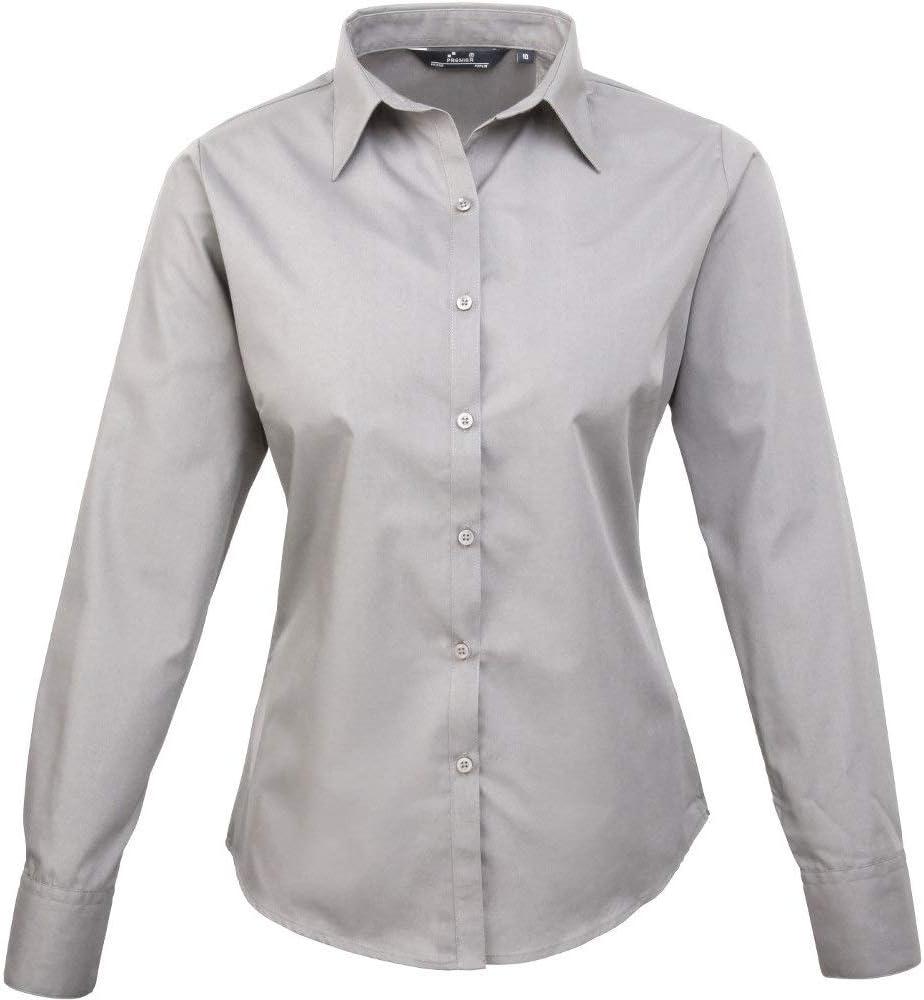 Premier Womens//Ladies Poplin Polycotton Long Sleeve Corporate Blouse